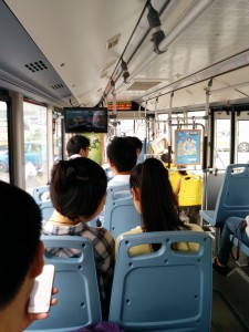 Taking public transit in Chengdu.