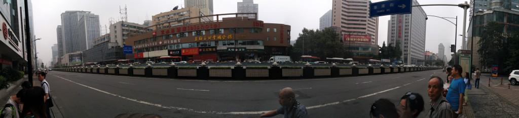 Waiting at a bus stop in Chengdu