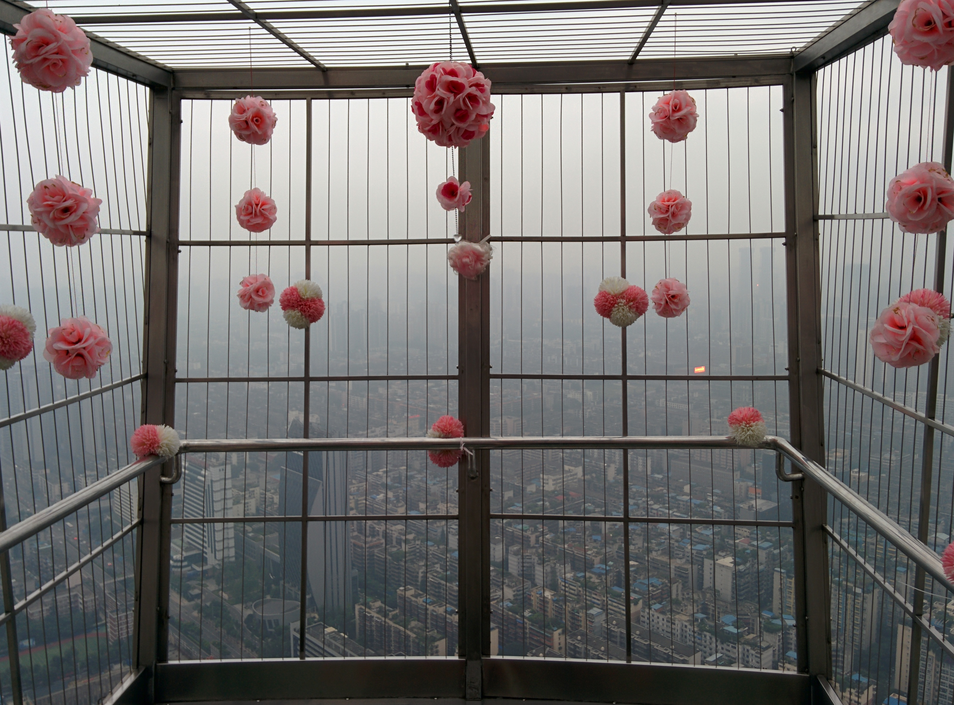 West Pearl Tower overhang with decorations.