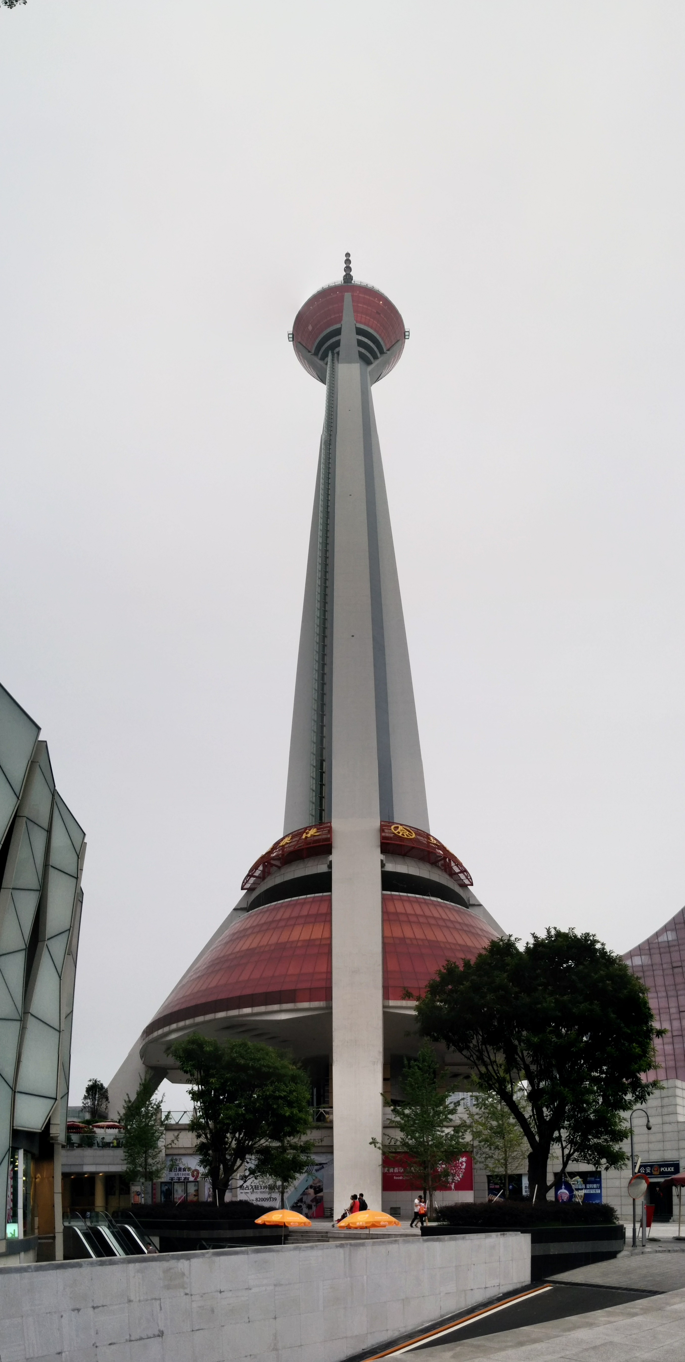 The tower from the plaza below.