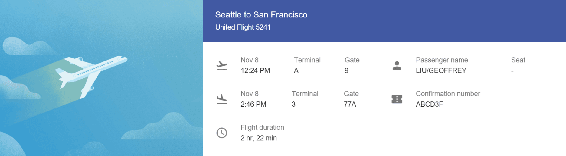 Flight information as displayed by Inbox by Google