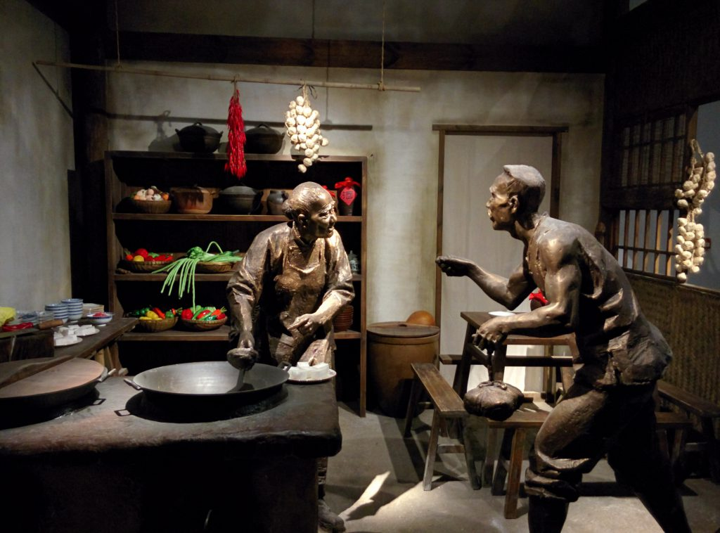 A sculpture depicting the process of making Mapo Tofu, a very popular dish from Sichuan