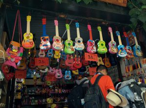 A shop in Shuhe Ancient Town, selling toy and real ukeleles