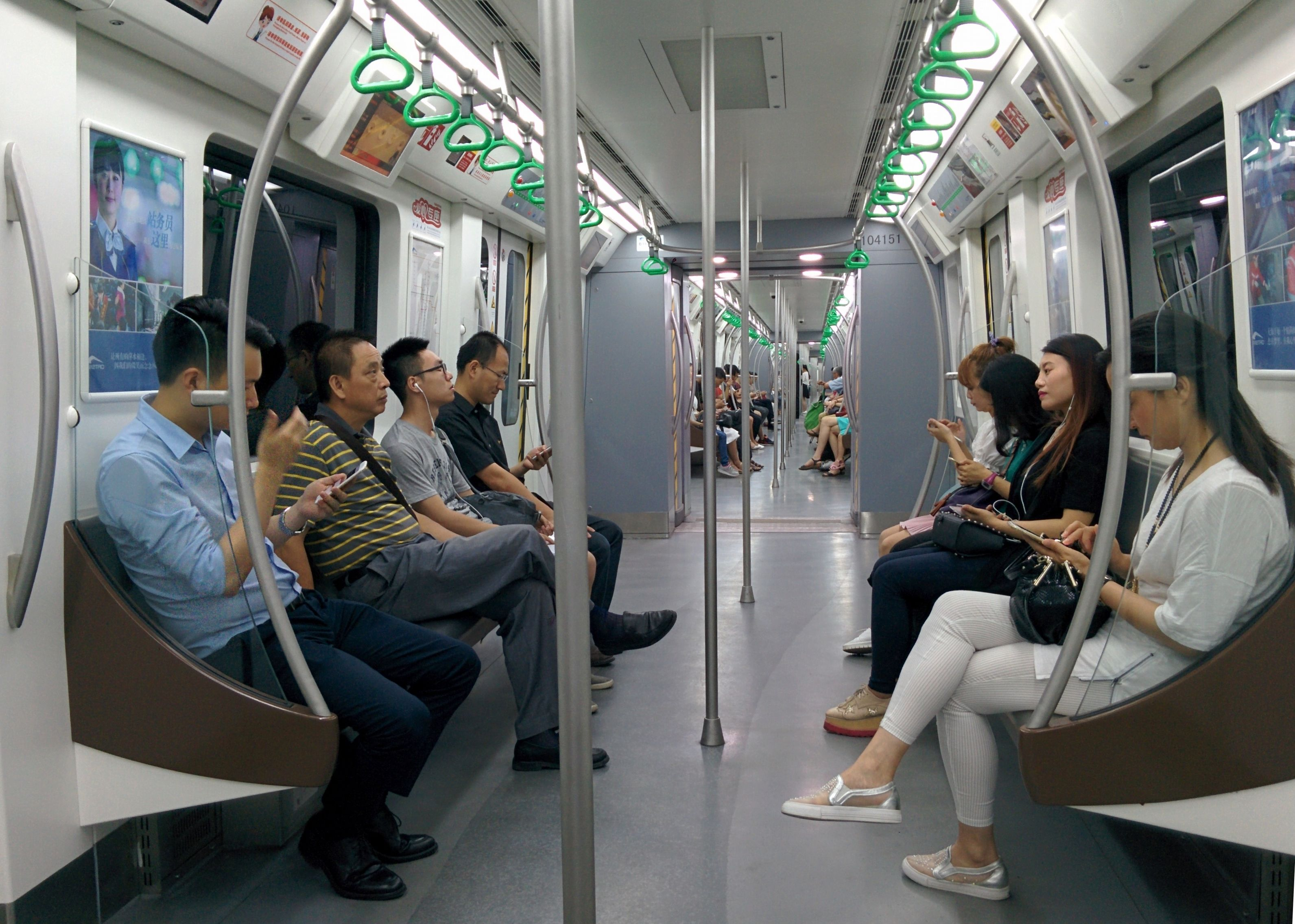 The inside of a Chengdu subway car. All the cars ae connected, so you could theoretically walk from the first to the last car!