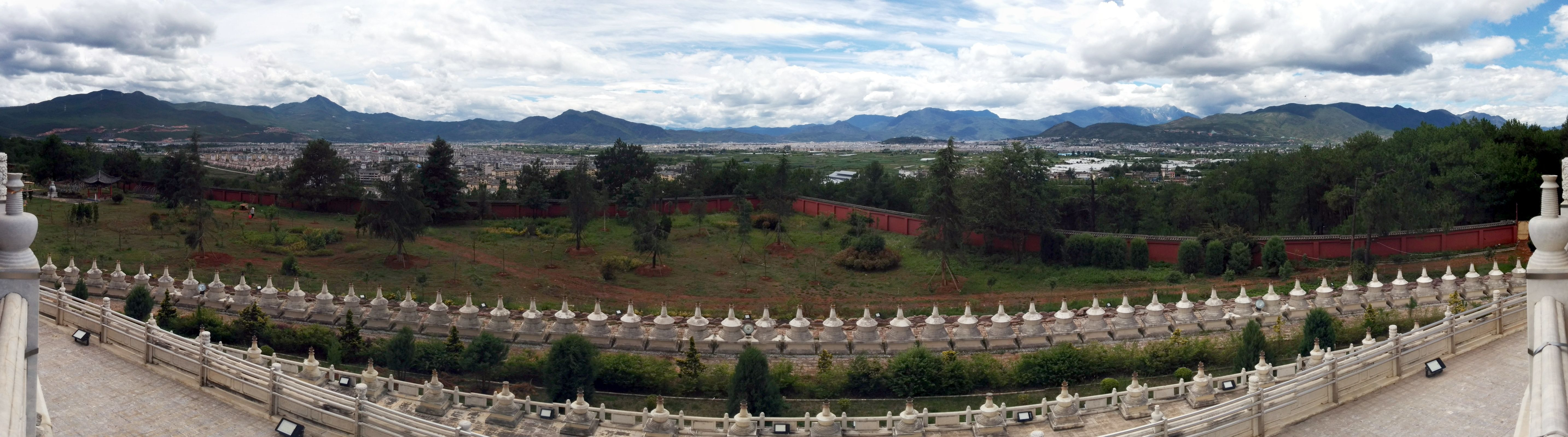 Looking out from the top of the Golden Pagoda, with a panoramic view of Lijiang city